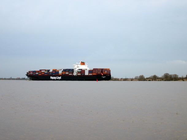 Comtainerschiff am Hetlinger Elbufer, Hamburg