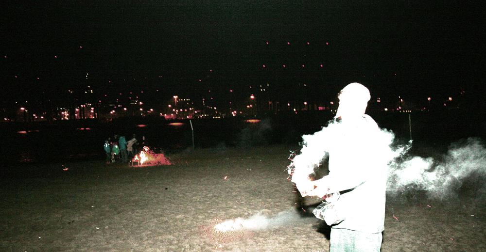 Feuerwerk am Elbstrand