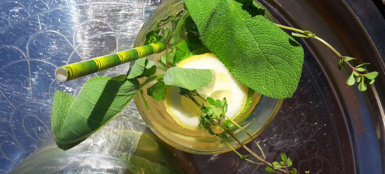Kräuterlimo mit Papierstrohhalm in Bambusoptik