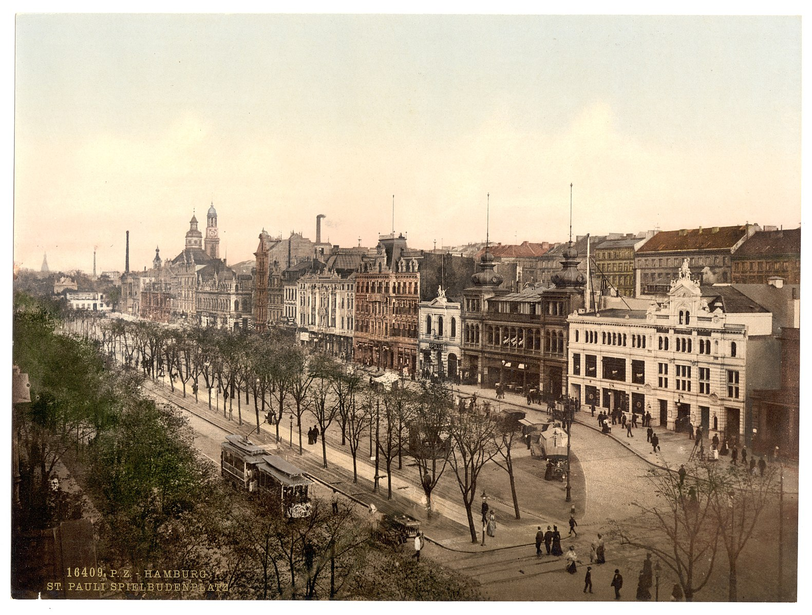 Spielbudenplatz um 1905 / Photochrom Print Collection [Public domain]