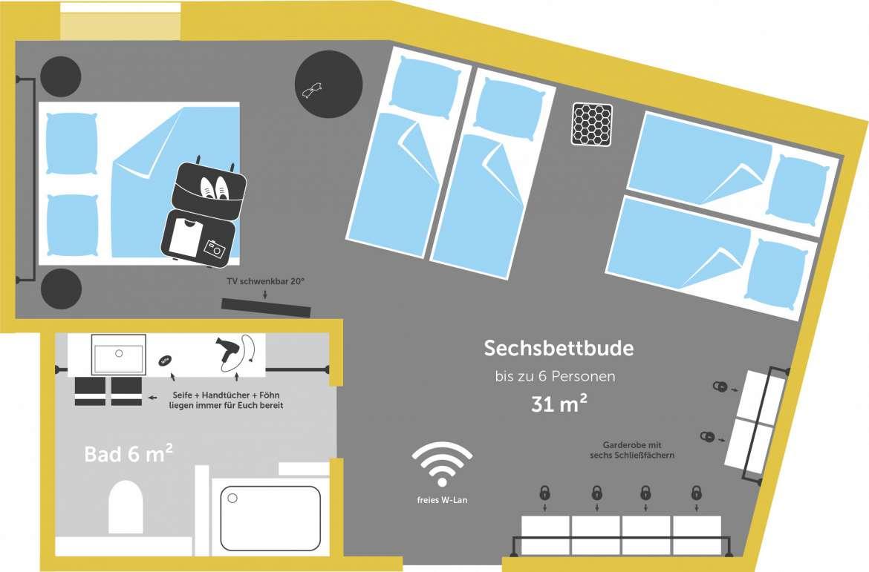 sechsbettbude hostel hamburg st pauli superbude. Black Bedroom Furniture Sets. Home Design Ideas