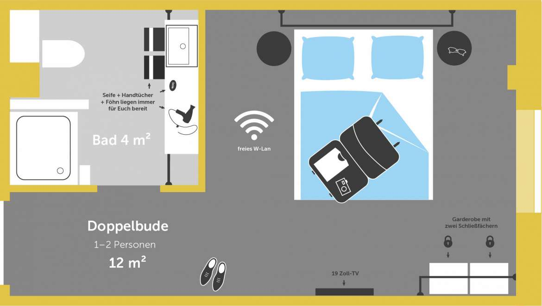 doppelbude f r 2 personen hostel hamburg st pauli superbude. Black Bedroom Furniture Sets. Home Design Ideas